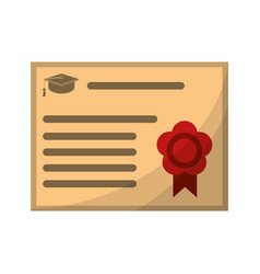 Certificate diploma school icon vector