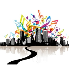 city with colored tunes vector image vector image