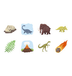 different dinosaurs icons in set collection for vector image vector image