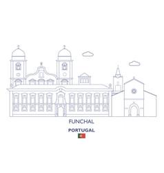 Funchal linear city skyline vector