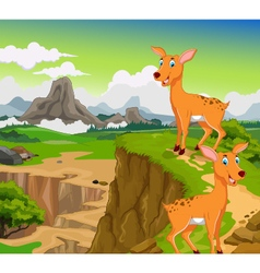 funny two deer cartoon with beauty mountain vector image vector image