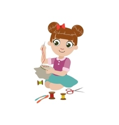 Girl doing embroidery vector