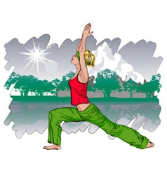 Girl Doing Yoga in a Park vector image