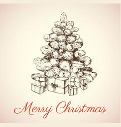 Hand drawn christmas tree vector