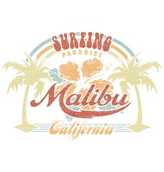 Malibu surfing paradise vector image vector image