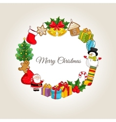 Merry Christmas Concept with Holidays Attributes vector image