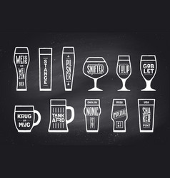 poster beer glassware types vector image vector image