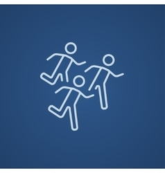Running men line icon vector