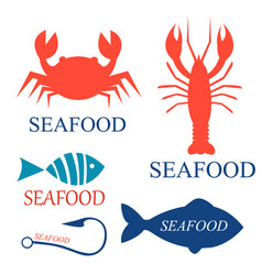 Set of seafood logo templates vector