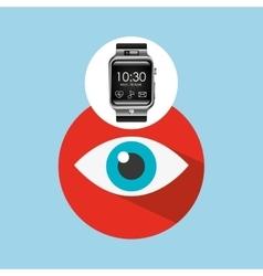 smart watch on hand- eye icon vector image