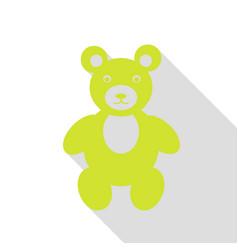 Teddy bear sign pear icon with flat vector