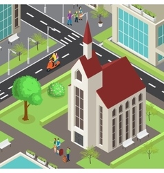Tourist sightseeing isometric template vector