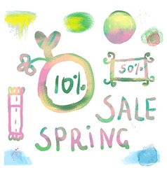 Watercolor sale labels set vector image vector image