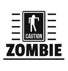 Zombie danger logo simple black style vector