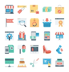 Shopping and e commerce colored icons 7 vector