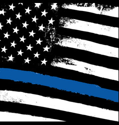 Thin blue line black flag with police blue line vector
