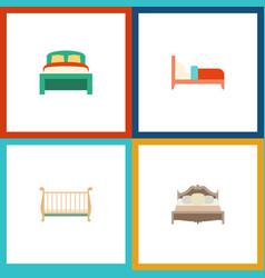 Flat mattress set of cot bearings bedroom and vector