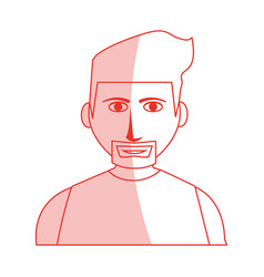 Red silhouette shading cartoon half body man with vector