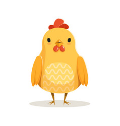 cute cartoon chicken standing colorful character vector image