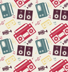 Retro gadgets monochrome pattern vector