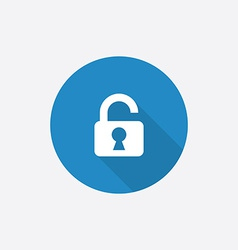 Unlock flat blue simple icon with long shadow vector