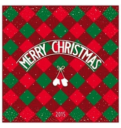 Christmas checkered greeting card vector