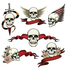 Set of commemorative skull icons vector image