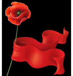 Poppy and ribbon on black vector