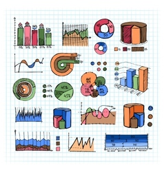 Colored graphs charts and diagrams on grid lines vector