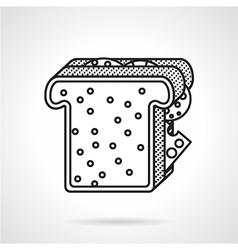 Breakfast toast black line icon vector
