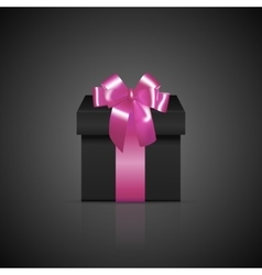 Black square gift box with pink ribbon and bow vector