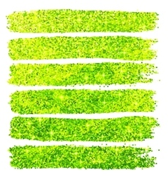 Green glitter brush strokes set isolated at white vector