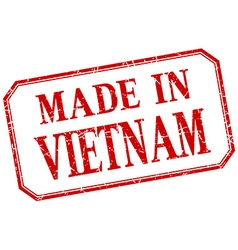 Vietnam - made in red vintage isolated label vector