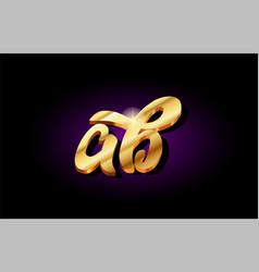 Ab alphabet letter golden 3d logo icon design vector