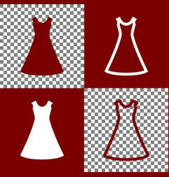 Beautiful long dress sign bordo and white vector