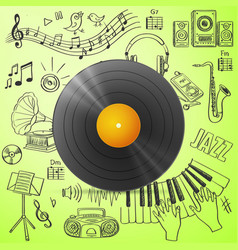 Black vinyl record and hand draw misic icon vector