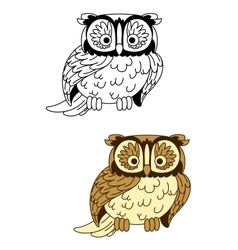 Brown and colorless cartoon owl bird mascot vector image vector image