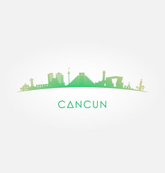 cancun mexico skyline silhouette green vector image