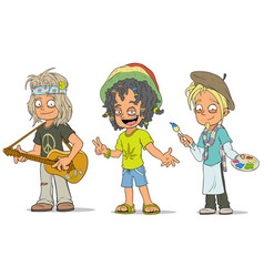 Cartoon hippie jamaican artist characters set vector