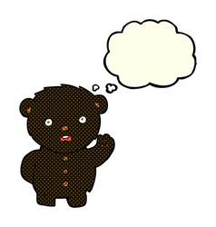 Cartoon unhappy black teddy bear with thought vector