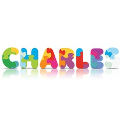 Charles written with alphabet puzzle vector