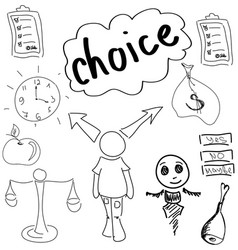 Drawn person making choice vector