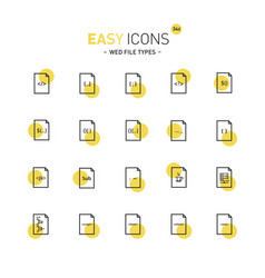 easy icons 34d file types vector image vector image