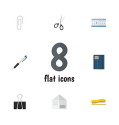 Flat icon stationery set of paper clip fastener vector