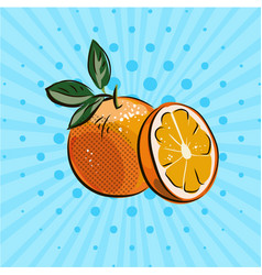 fresh oranges with green leaves on blue background vector image vector image