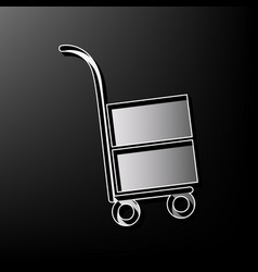 Hand truck sign gray 3d printed icon on vector