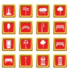 Hangar icons set red vector