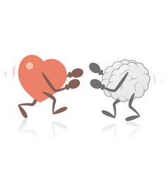 Heart and brain fighting vector