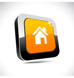 Home 3d square button vector