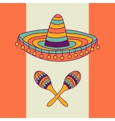 Mexican design with sombrero and cactus vector